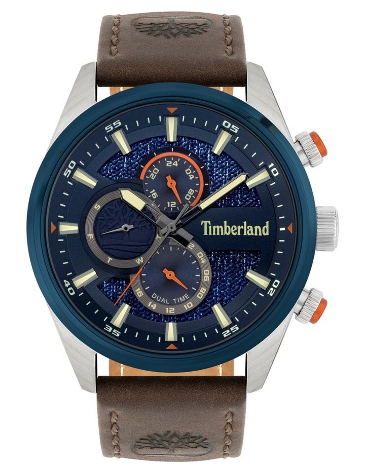 Timberland Ridgeview Brown Leather Strap Silver Metal Watch image 1