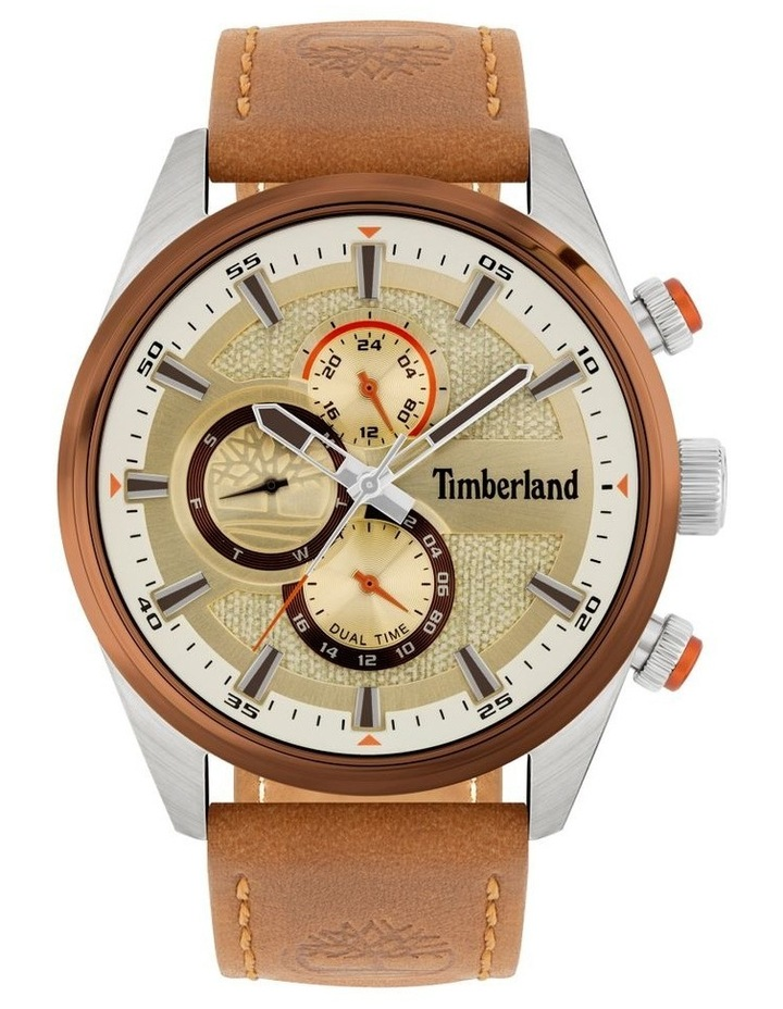 Timberland Ridgeview Tan Leather Strap Silver Metal Watch image 1