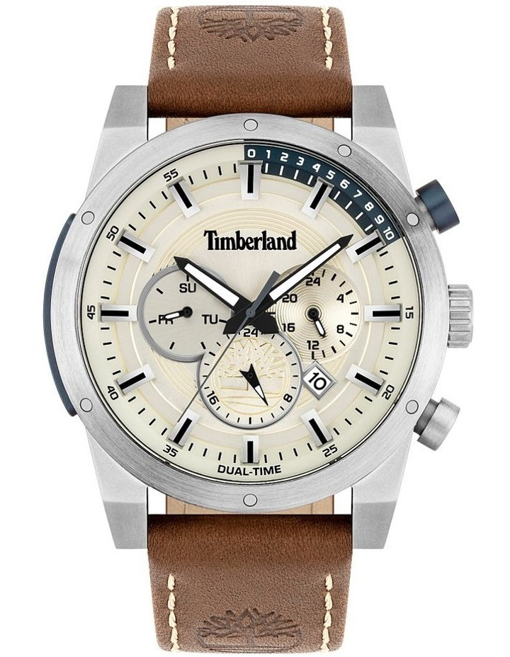 Timberland Sherbrook Brown Leather Strap Silver Metal Watch image 1