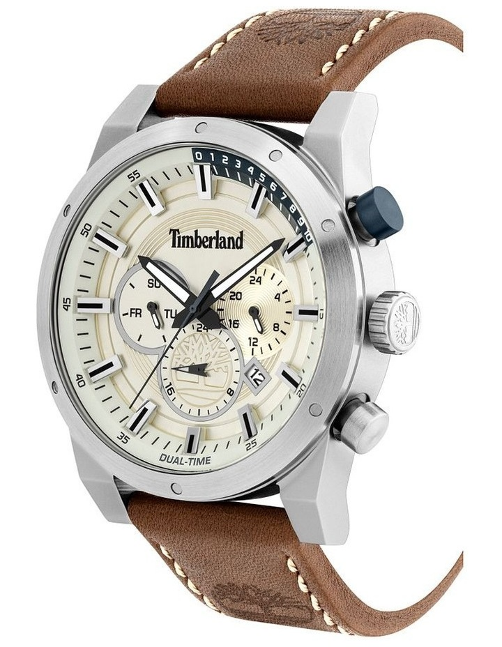 Timberland Sherbrook Brown Leather Strap Silver Metal Watch image 2