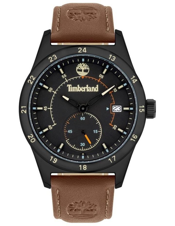 Timberland Boynton Dark Red Leather Strap Black Metal Watch image 1