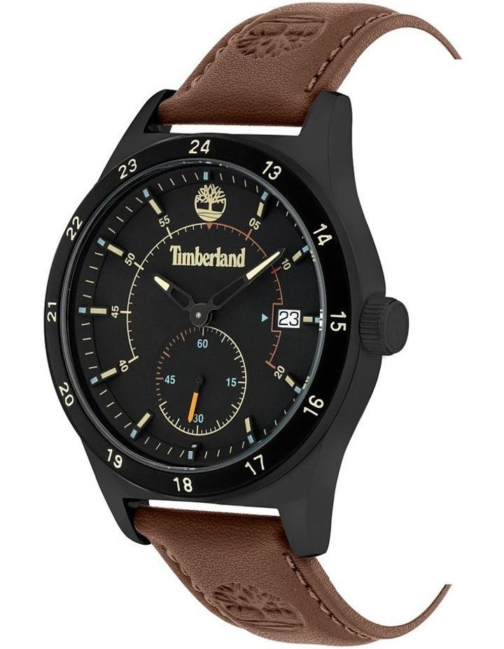 Timberland Boynton Dark Red Leather Strap Black Metal Watch image 2