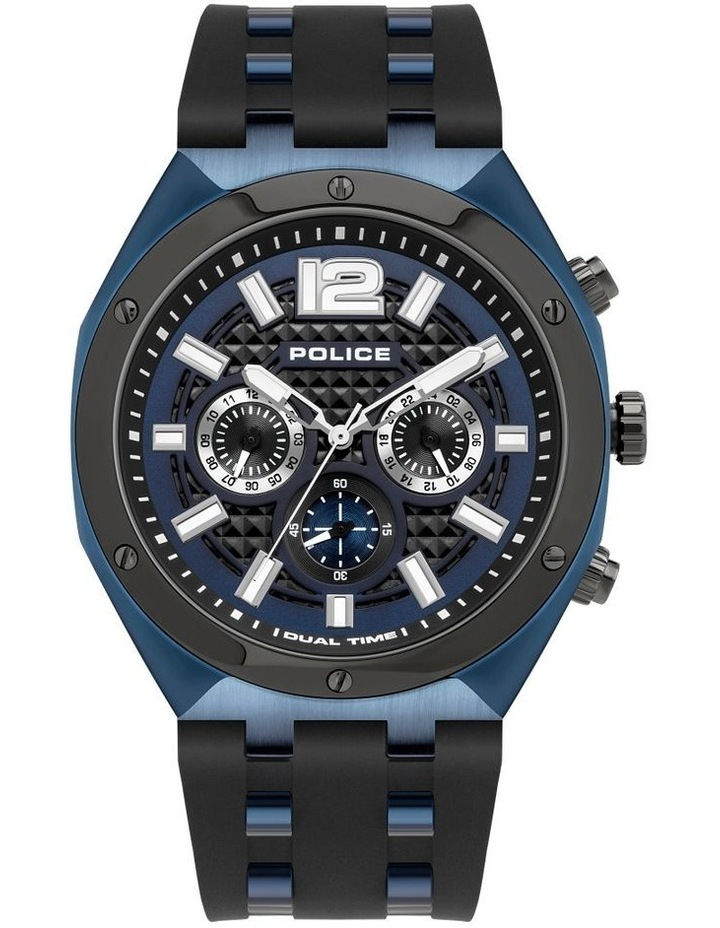 Police Kediri Black Silicon Strap Blue Metal Watch image 1