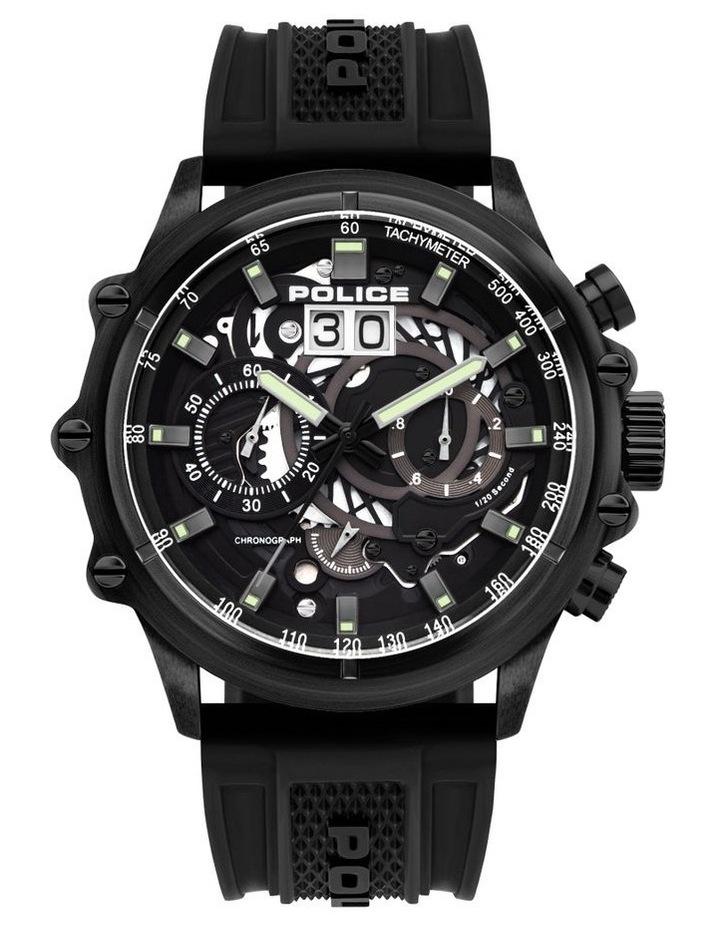 Police Luang Black Silicon Strap Black Metal Watch image 1