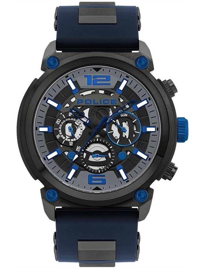 Police Armor Dark Blue Silicon Strap Blue Metal Watch image 1