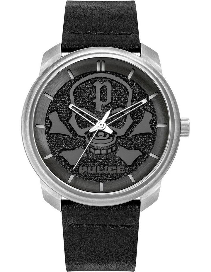 Police Bleder Black Leather Strap Silver Metal Watch image 1