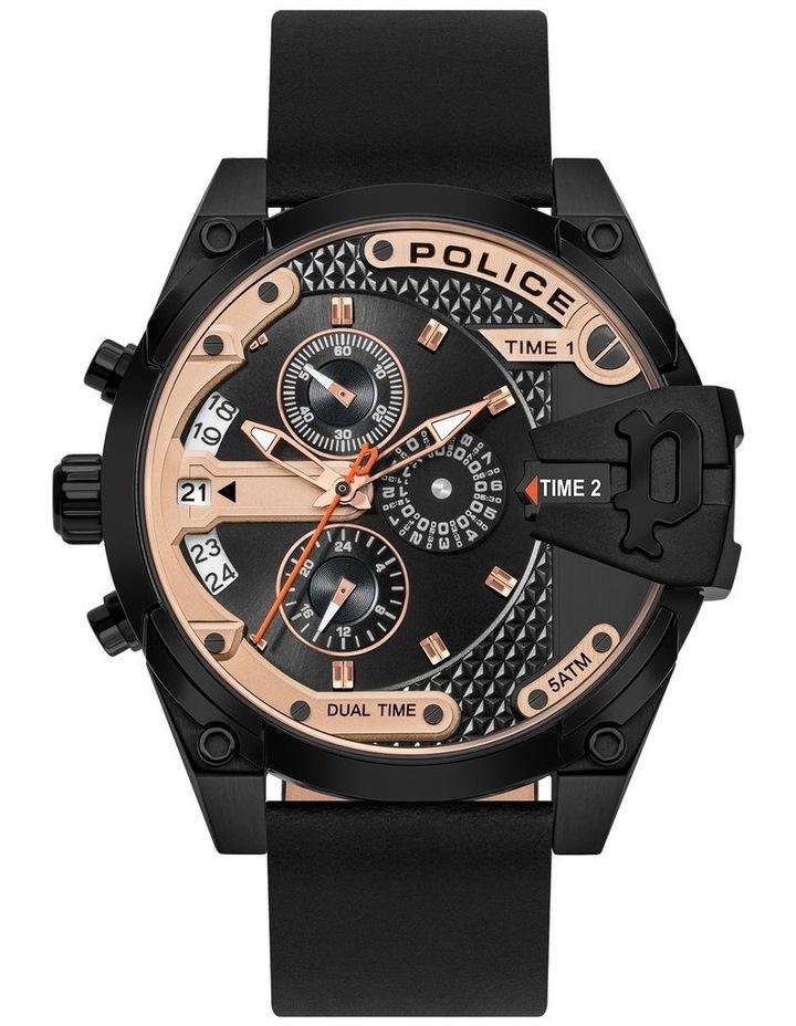 Police Danu Black Leather Strap Black Metal Watch image 1