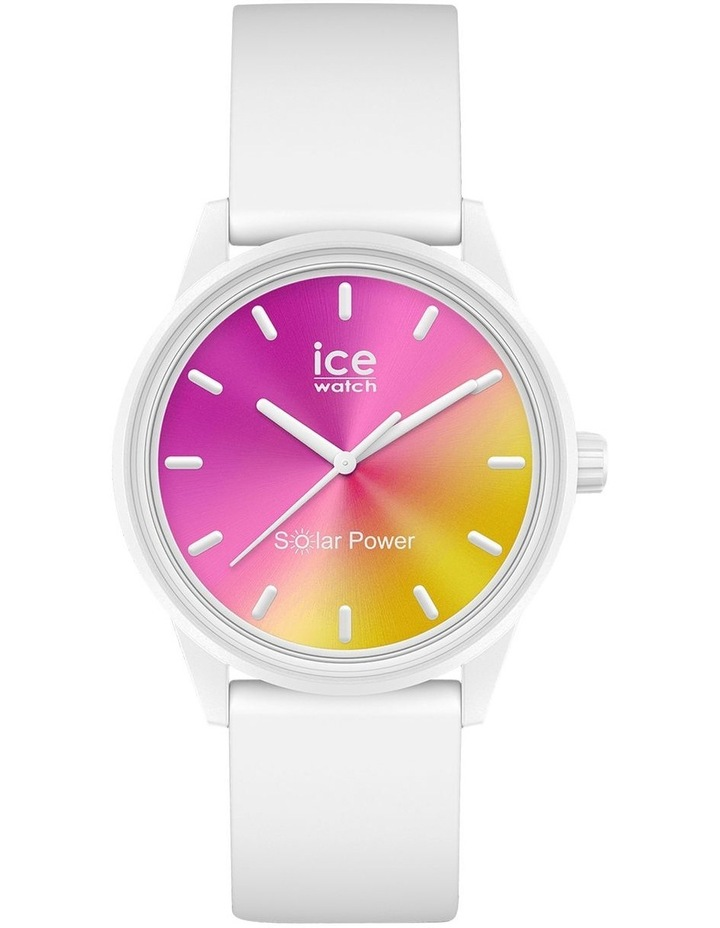 Solar Power Sunset Small White Silicone Solar Watch image 1