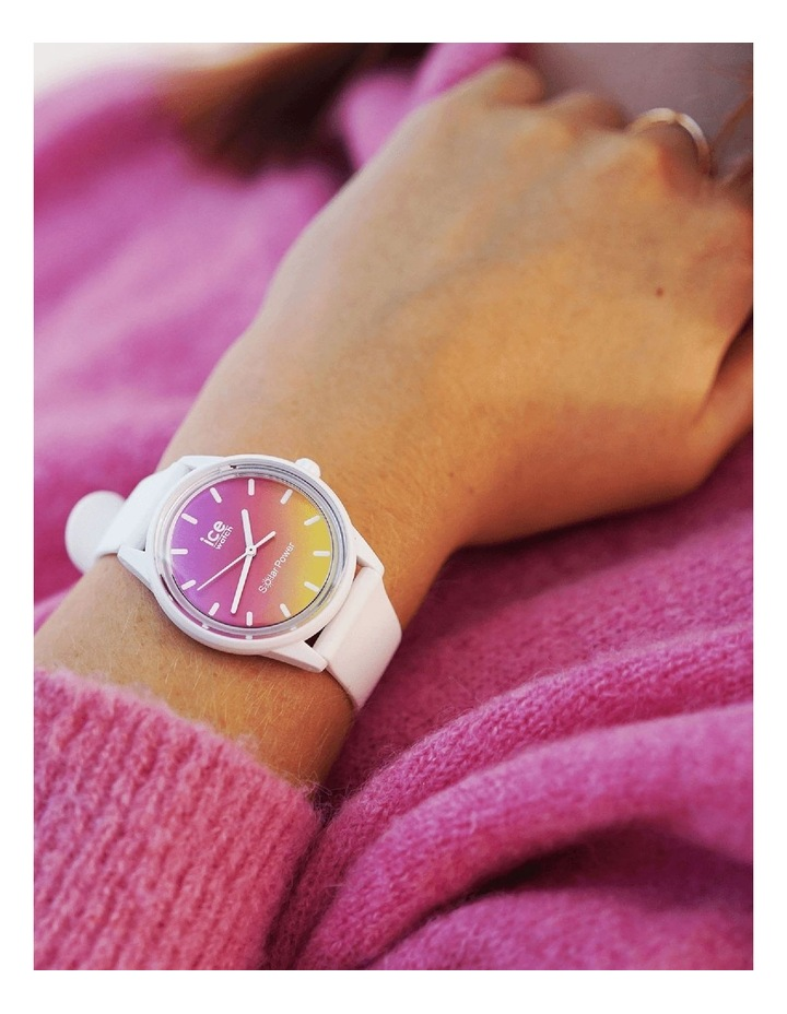 Solar Power Sunset Small White Silicone Solar Watch image 2