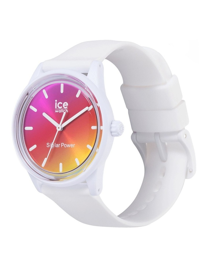 Solar Power Sunset Small White Silicone Solar Watch image 3