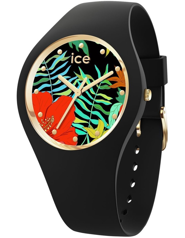 Ice Flower Jungle Small Black Silicone Quartz Watch image 1