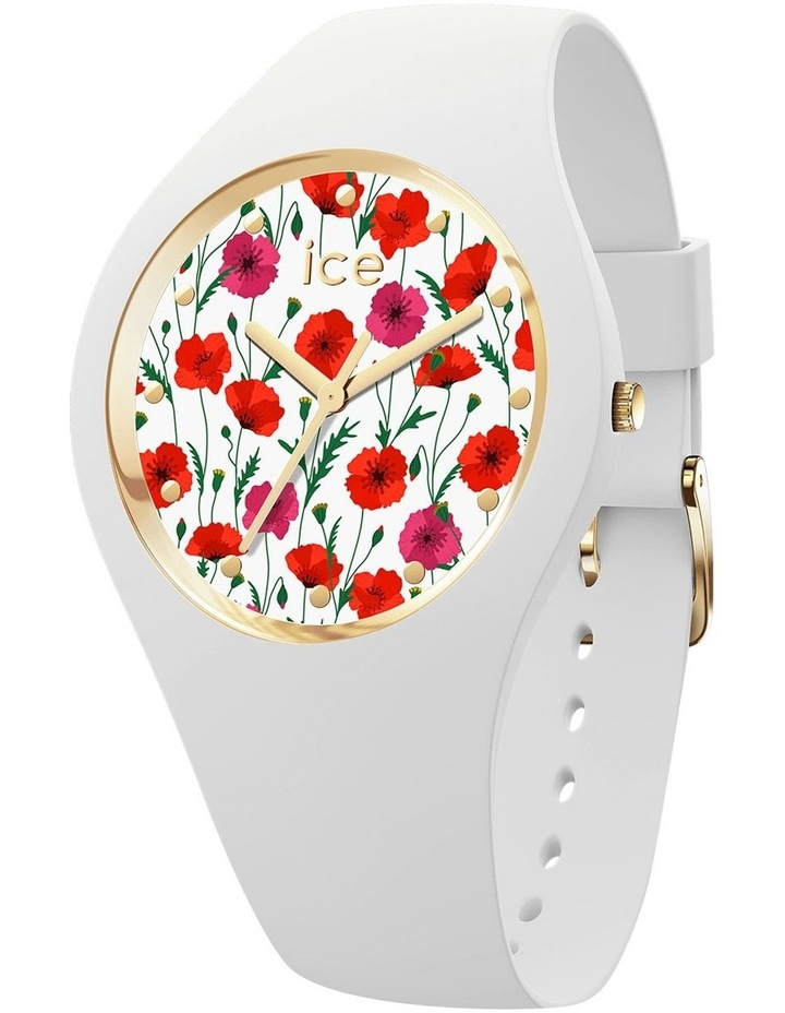 Ice Flower Poppy Small White Silicone Quartz Watch image 1