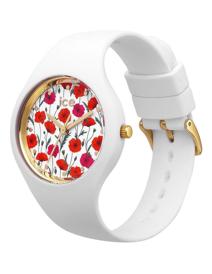 Ice Flower Poppy Small White Silicone Quartz Watch image 2