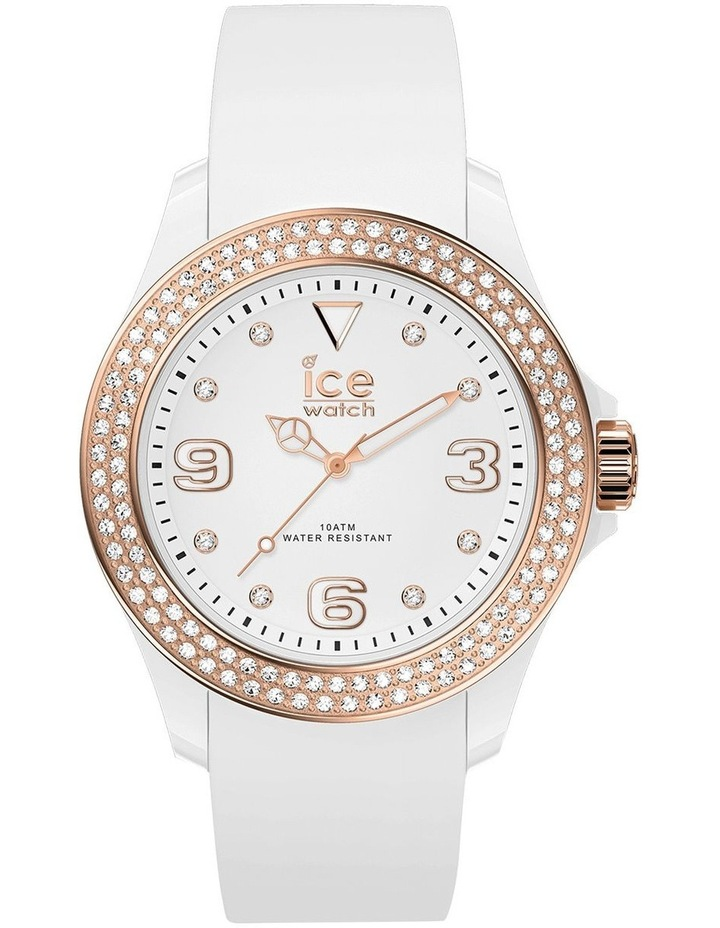 Ice Star Rose Gold Smooth Small White Silicone Quartz Watch image 1