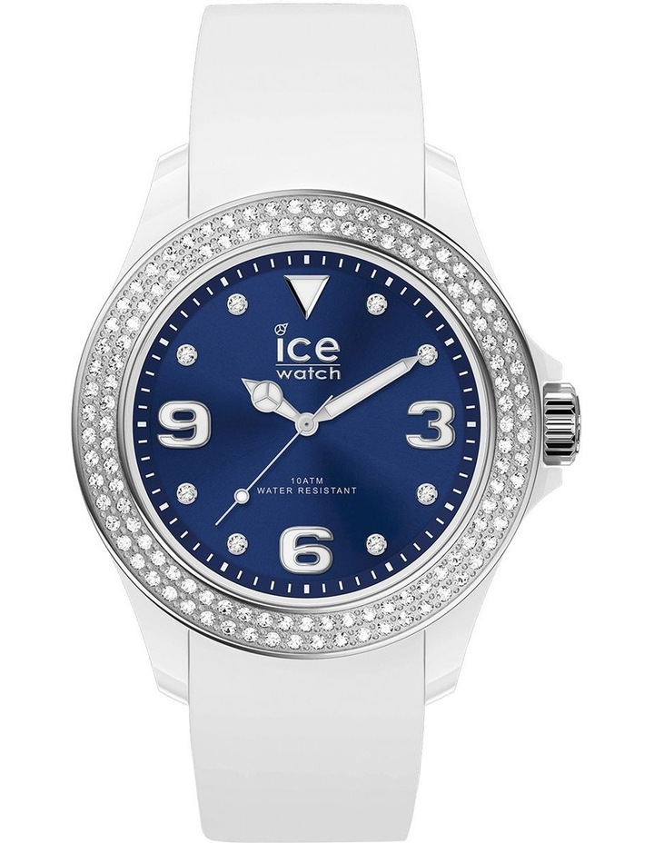 Ice Star Deep Blue Smooth Small White Silicone Quartz Watch image 1