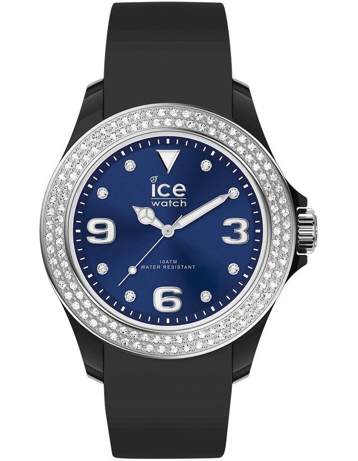 Ice Star Deep Blue Smooth Small Black Silicone Quartz Watch image 1