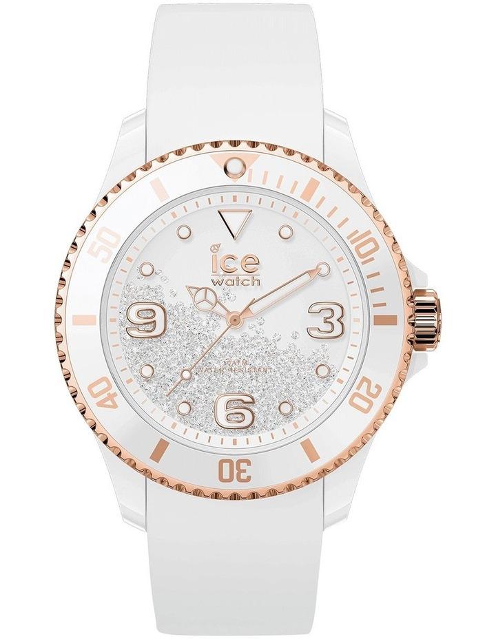 Ice Crystal Rose Gold Smooth Medium White Silicone Quartz Watch image 1