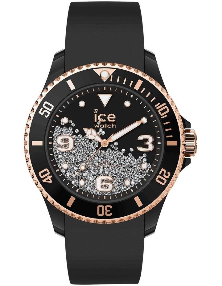 Ice Crystal Rose Gold Medium Black Silicone Quartz Watch image 1