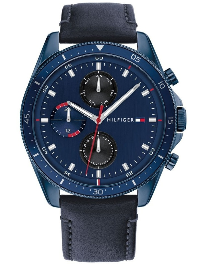 Blue Leather Men's Multi-Function Watch image 1