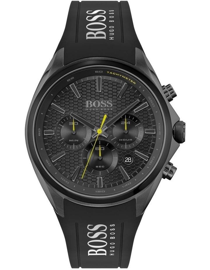 Distinct Black Silicone Men's Chrono Watch image 1
