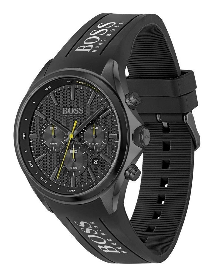 Distinct Black Silicone Men's Chrono Watch image 2