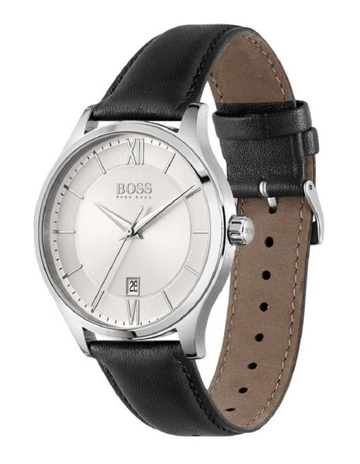 Elite Stainless Steel Black Leather Band Watch image 2
