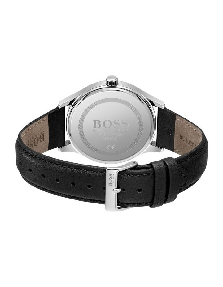 Elite Stainless Steel Black Leather Band Watch image 3