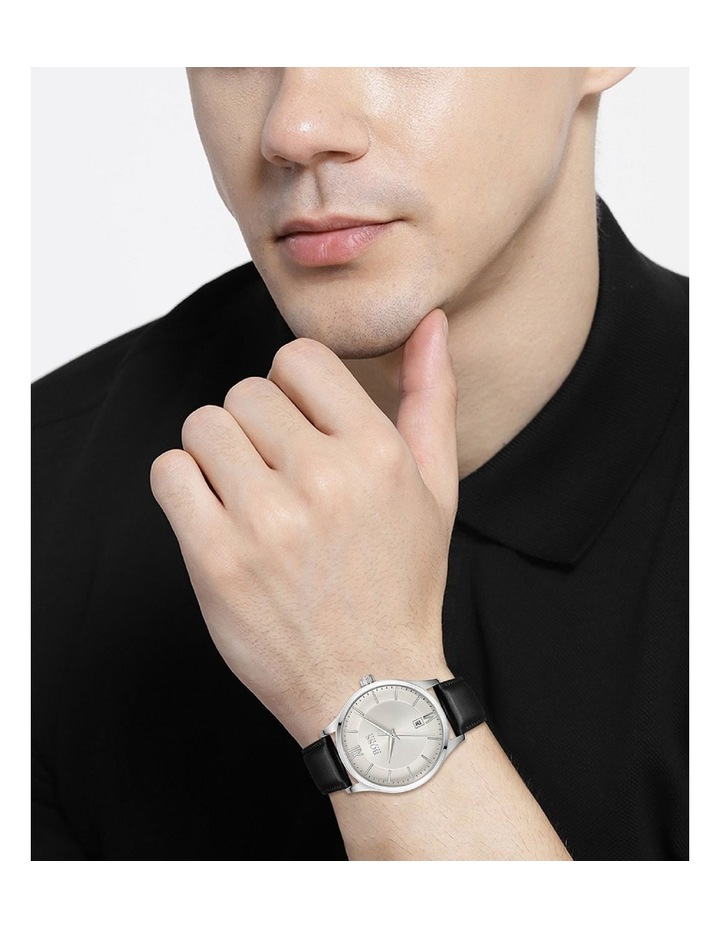 Elite Stainless Steel Black Leather Band Watch image 4