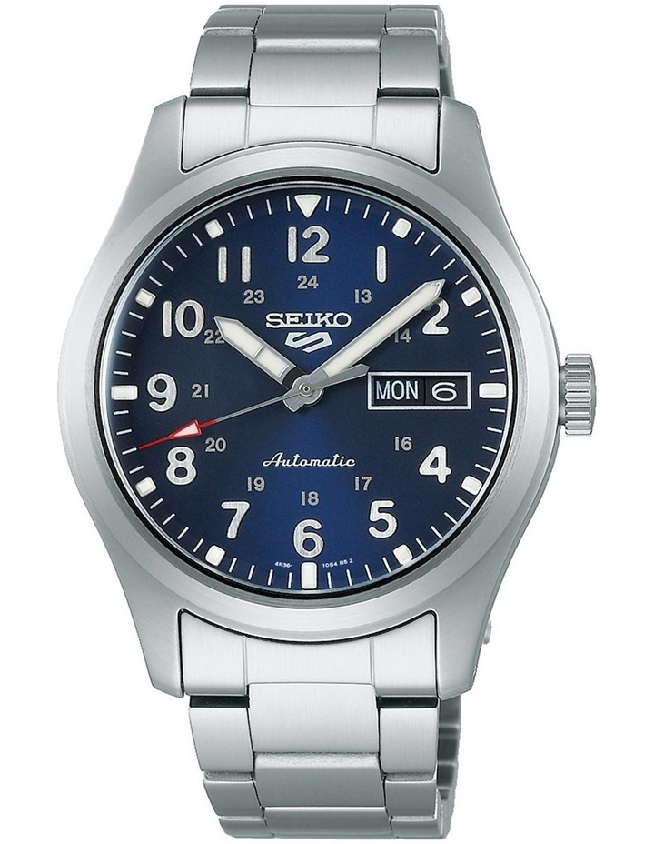5 Sports Automatic Blue Dial Silver Watch image 1