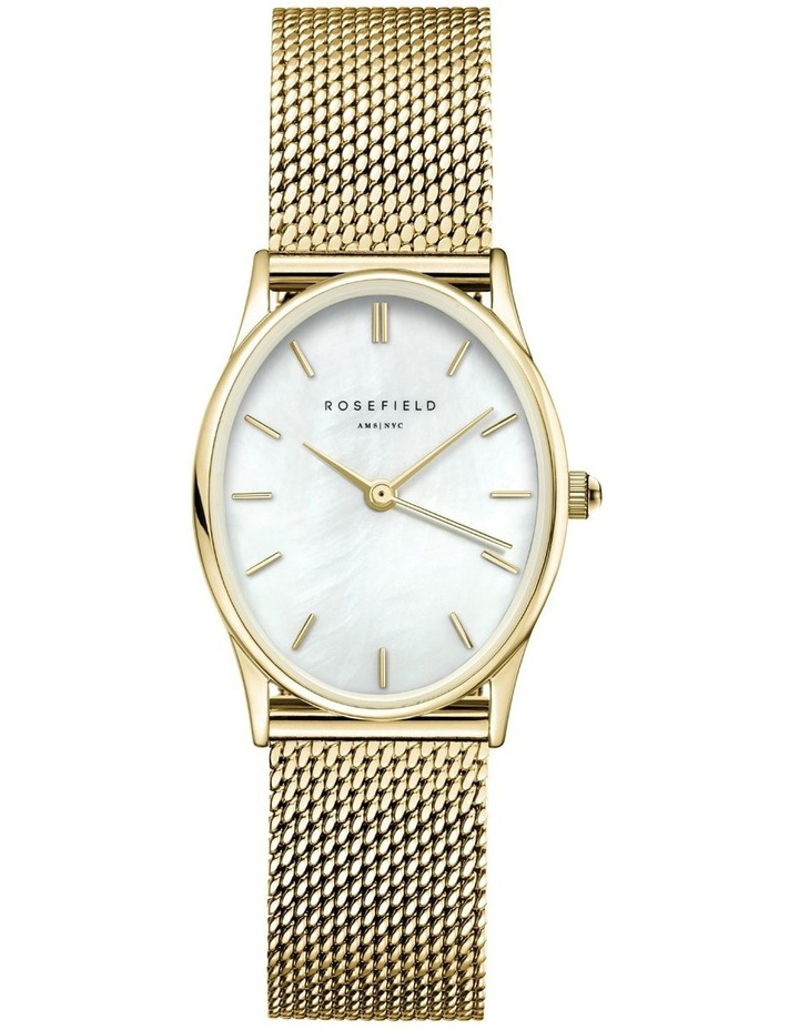 The Oval Mother Of Pearl Dial Gold Mesh Bracelet Watch image 1