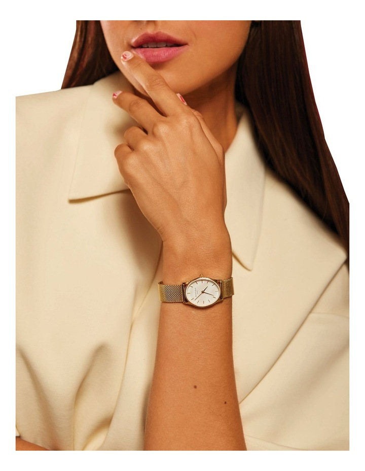 The Oval Mother Of Pearl Dial Gold Mesh Bracelet Watch image 4