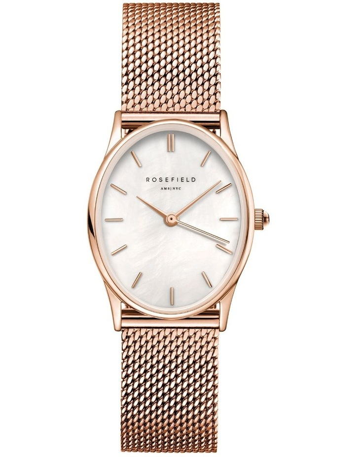 The Oval Mother Of Pearl Dial Rose Gold Mesh Bracelet Watch image 1
