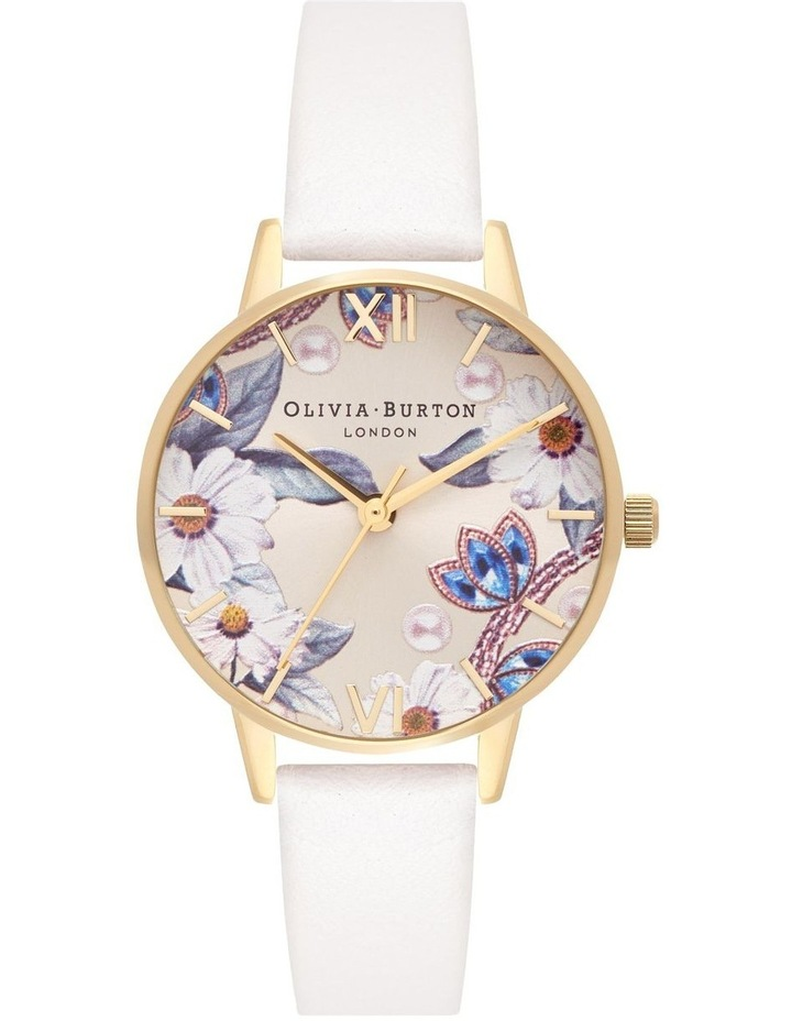 Bejewelled Florals Gold & Nude Watch image 1