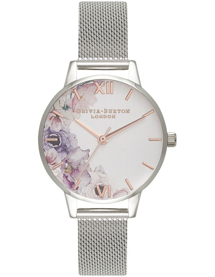 Water Colour Florals Silver Watch OB16PP37 image 1