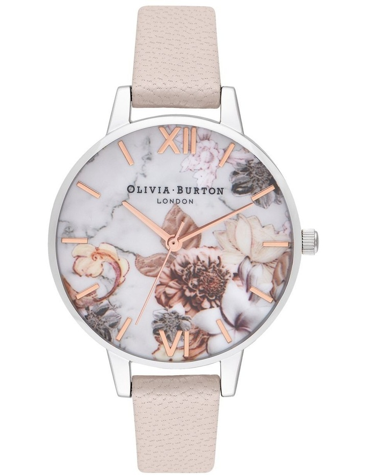 OB16CS21 Marble Florals Silver Watch image 1