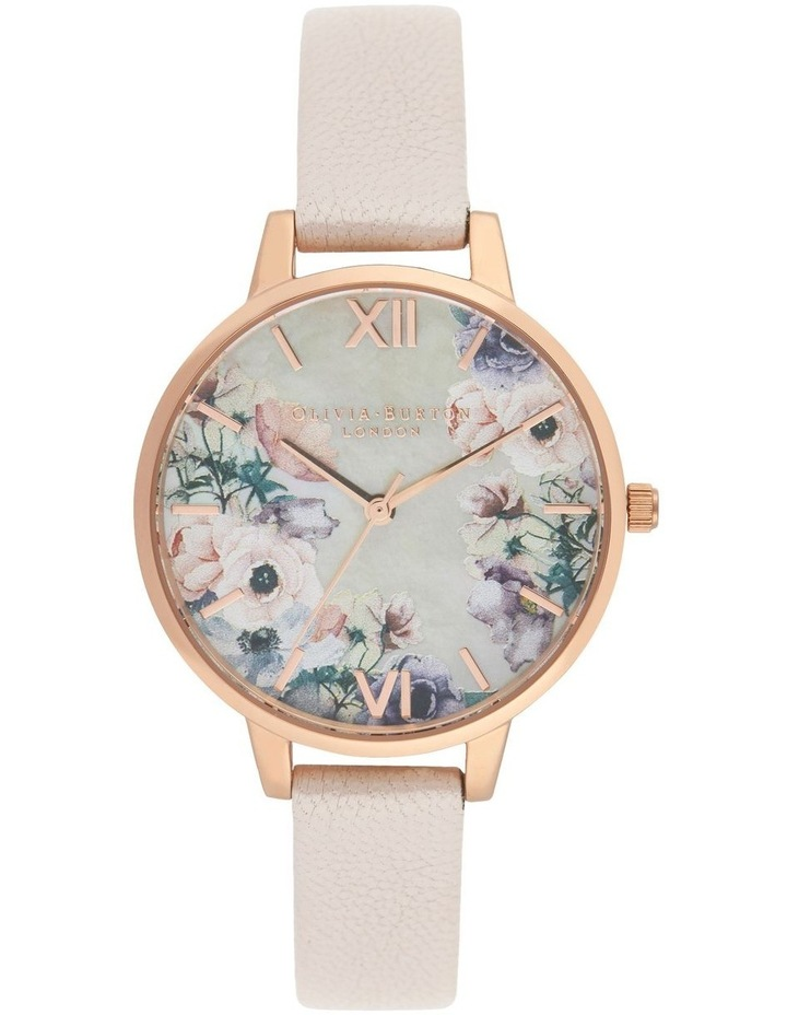 OB16PP53 Watercolour Florals Rose Gold Watch image 1