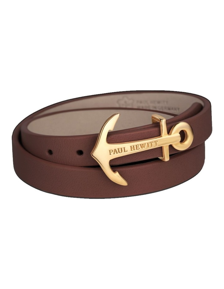 PH-WB-G-1M North Bound Leather Bracelet Gold / Brown image 1