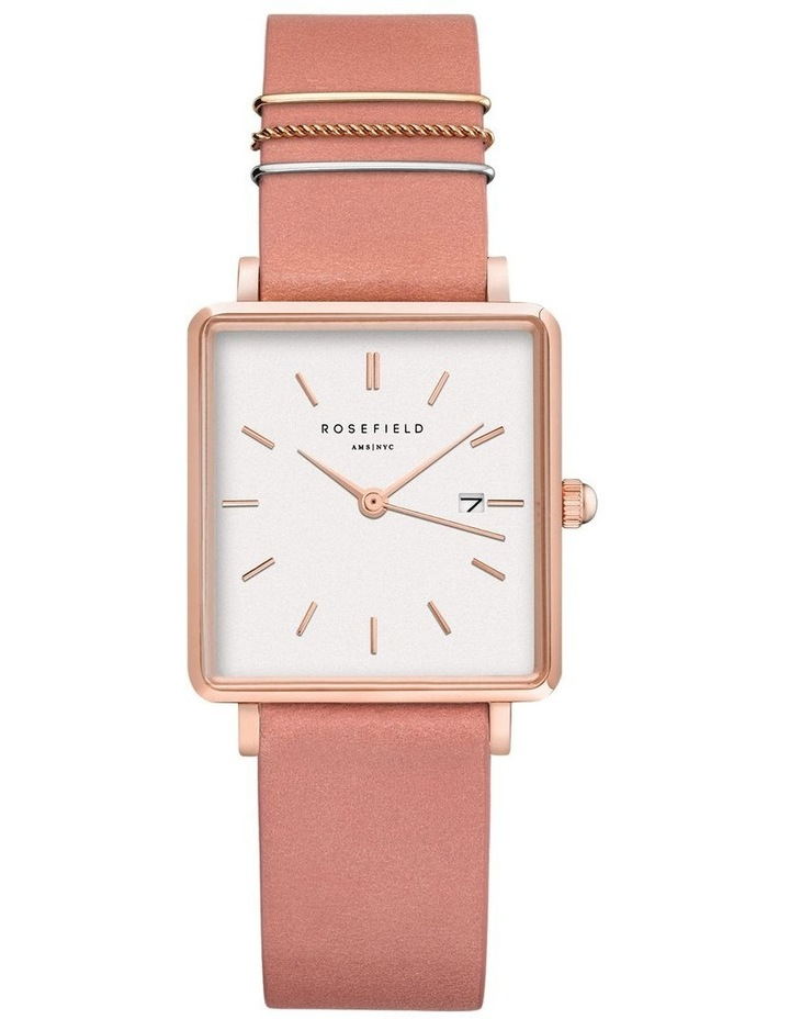 QOPRG-Q026 The Boxy White Dial Light Pink Sued Watch image 1
