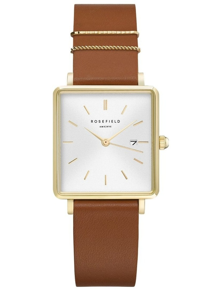 QSCG-Q029 The Boxy White Dial Tan Sued Watch image 1