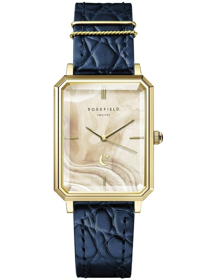 The Elles Gold Blue Croc Leather Watch image 1