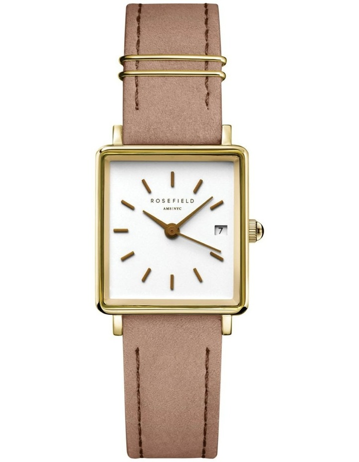 The Mini Boxy Gold Nude Leather Watch image 1