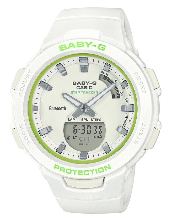 Baby-G BSAB100SC-7ABluetooth Step Tracker White with Lime Green Accent image 1