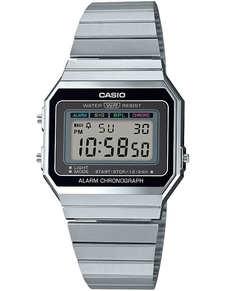 Casio Vintage Silver Digital Watch With Stainless Band A700W-1A image 1