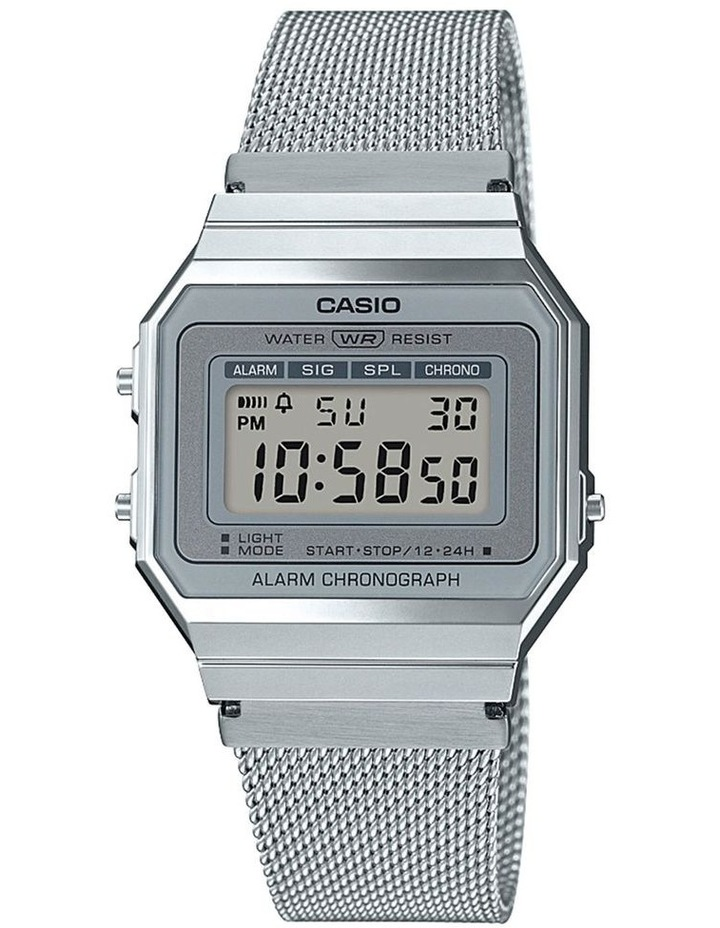 Casio Vintage Silver Digital Watch With Stainless Mesh Band A700WM-7A image 1