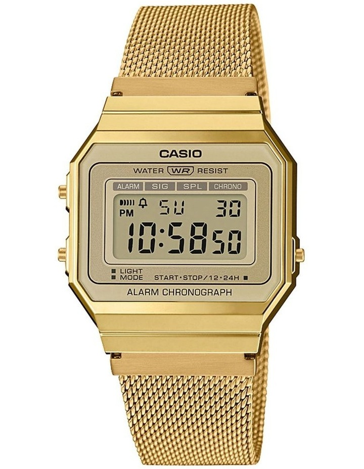 Casio Vintage Gold Digital Watch With Stainless Mesh Band A700WMG-9A image 1
