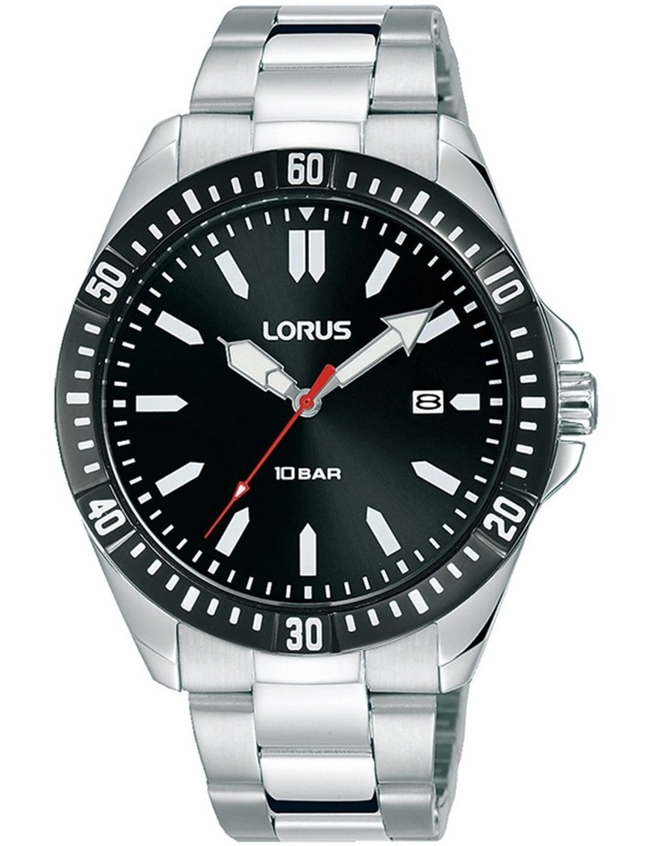 Gents Black Dial Silver Sports Watch image 1