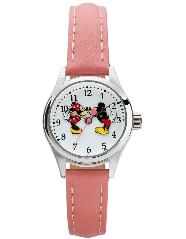 Petite Mickey & Minnie in Love Pink Leather Analog Watch image 1