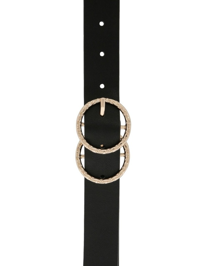 Black With Textured Gold Double Circle Ring Belt image 1