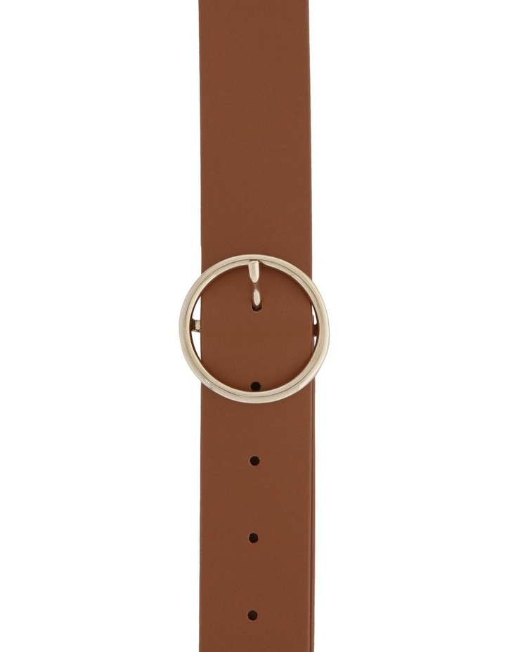 3.5cm Smooth Leather Belt with Circle Buckle image 1