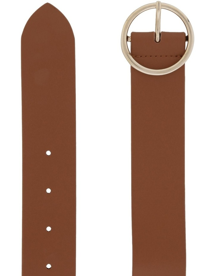 3.5cm Smooth Leather Belt with Circle Buckle image 2